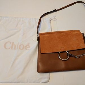NEW Chloé Faye Shoulder Bag Tobacco Smooth/Suede